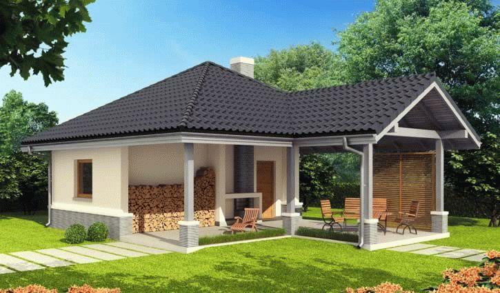 План бани с беседкой под одной крышей