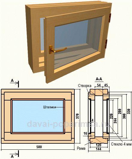 Установка деревянного окна в бане